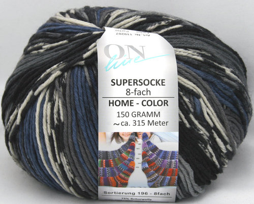 Supersocke Home Color 8-fach blau/grau/schwarz